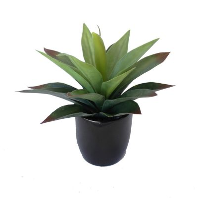 ARTIFICIAL AGAVE PLANT GREEN RED POTTED 25CM COMPLETE WITH FIBREGLASS POT